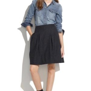 Madewell Gray Wool Blend Structured Pleat Skirt